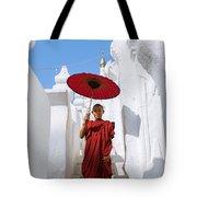 Young Novice Monk Walking On White Pagoda - Myanmar Tote Bag