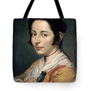 Young Peasant Woman Holding A Wine Flask Tote Bag