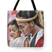 Young Polynesian Mama With Child Tote Bag