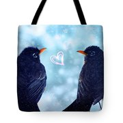 Young Robins In Love Tote Bag