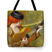 Young Spanish Woman With A Guitar Tote Bag