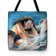 Young Tahitian Mermaid Tote Bag