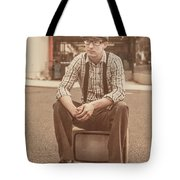 Young Vintage Man Seated On Old Tv Tote Bag