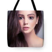 Young Woman Anime Style Beauty Portrait With Beautiful Large Gra Tote Bag