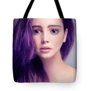 Young Woman Anime Style Beauty Portrait With Large Eyes And Purp Tote Bag