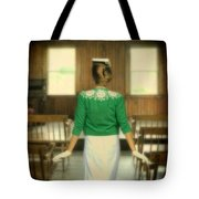 Young Woman Balancing A Book On Her Head Tote Bag