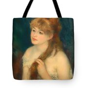 Young Woman Braiding Her Hair Tote Bag