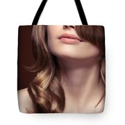 Young Woman Closeup Of Mouth And Neck Tote Bag