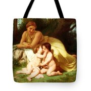 Young Woman Contemplating Two Embracing Children Tote Bag