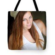 Young Woman Hallway Tote Bag