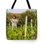 Young Woman Harvesting Red Peppers Tote Bag