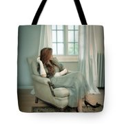 Young Woman In A Chair Tote Bag