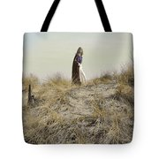 Young Woman In Cloak On A Hill Tote Bag