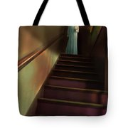 Young Woman In Nightgown On Stairs Tote Bag by Jill Battaglia