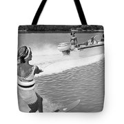 Young Woman Slalom Water Skis Tote Bag