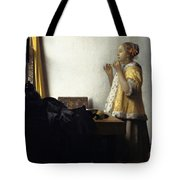 Young Woman With A Pearl Necklace Tote Bag