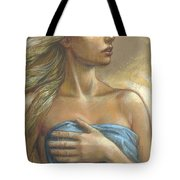 Young Woman With Blue Drape Crop Tote Bag