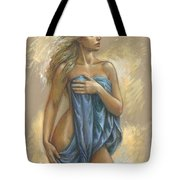 Young Woman With Blue Drape Tote Bag
