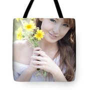 Young Woman With Flowers Tote Bag