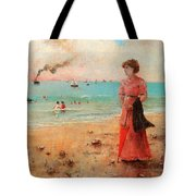 Young Woman With Red Umbrella Tote Bag