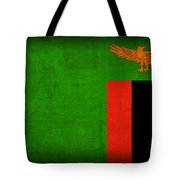 Zambia Flag Distressed Vintage Finish Tote Bag