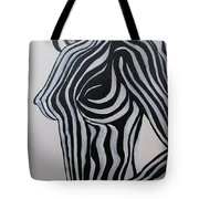 Zebra Body Paint Tote Bag