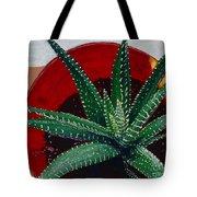 Zebra Cactus In Red Glass Tote Bag