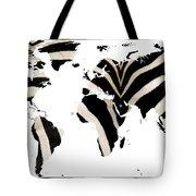 Zebra Fur World Map Tote Bag
