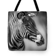 Zebra Profile In Black And White Tote Bag
