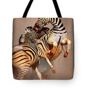 Zebras Fighting Tote Bag