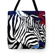 Zebras On A Blue Night Tote Bag