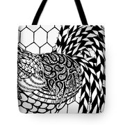 Zentangle Rooster Tote Bag