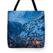 Zermatt - Winter's Night Tote Bag by Brian Jannsen