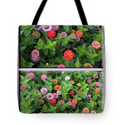 Zinnias 4 Panel Vertical Composite Tote Bag