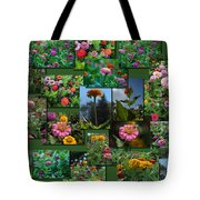 Zinnias Collage Rectangle Tote Bag