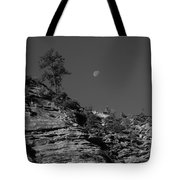 Zion National Park And Moon In Black And White Tote Bag
