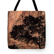 Zion National Park Canyon Walls With Silhouetted Trees In Front  Tote Bag