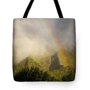 A Rainbow Shines Over The Rugged Tote Bag