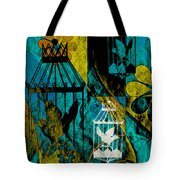 3 Caged Birds Grunge Tote Bag
