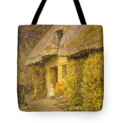 A Child At The Doorway Of A Thatched Cottage  Tote Bag
