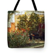 Corner Of A Roman Garden Tote Bag by Sir Lawrence Alma-Tadema