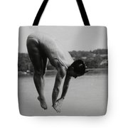 Dive Lake Jump  In The Late  Ninetieth  Tote Bag