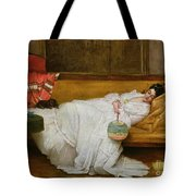 Girl In A White Dress Resting On A Sofa Tote Bag