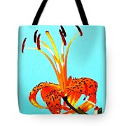 Turquoise And Tiger Lily Tote Bag