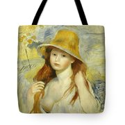 Young Girl With A Straw Hat Tote Bag