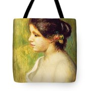 Young Woman With Flowers At Her Ear Tote Bag