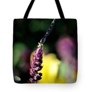 0001 Dragonfly Yoga On A Salvia Burgundy Candle Tote Bag