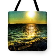 0001 Windy Waves Sunset Rays Tote Bag