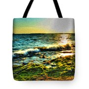 00015 Windy Waves Sunset Rays Tote Bag
