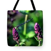 0004 Dragonfly Yoga On A Salvia Burgundy Candle Tote Bag